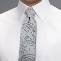 Silver Camden Paisley Tie - Available From 4th May 2018 Tie