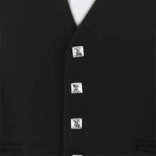 Black Prince Charlie 5 Silver Button  Waistcoat